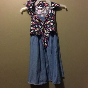 Justice Jean dress with attached floral top